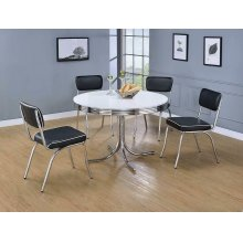 Retro White and Chrome Dining Table