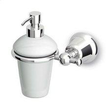 Ceramic wall mounted soap dispenser.