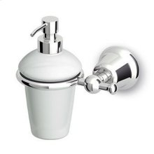 Ceramic wall mounted soap dispenser.