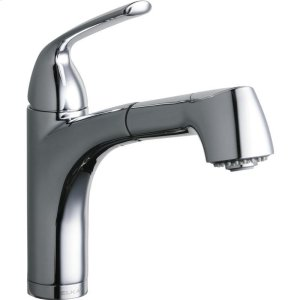 Elkay Gourmet Single Hole Bar Faucet Pull-out Spray and Lever Handle Chrome Product Image