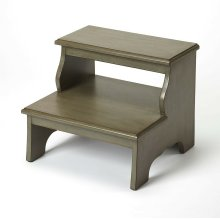 """This transitionally styled bed step keeps everything within reach, and its sturdy construction is a """"step-up from other options. Crafted from select hardwood solids and wood products, it features a burnished Silver Satin finish. Beyond the bedroom, use"""