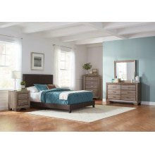 Boyd Upholstered Brown Twin Bed