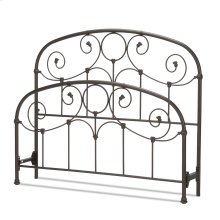 Grafton Metal Headboard and Footboard Bed Panels with Prominent Scrollwork and Decorative Castings, Rusty Gold Finish, King