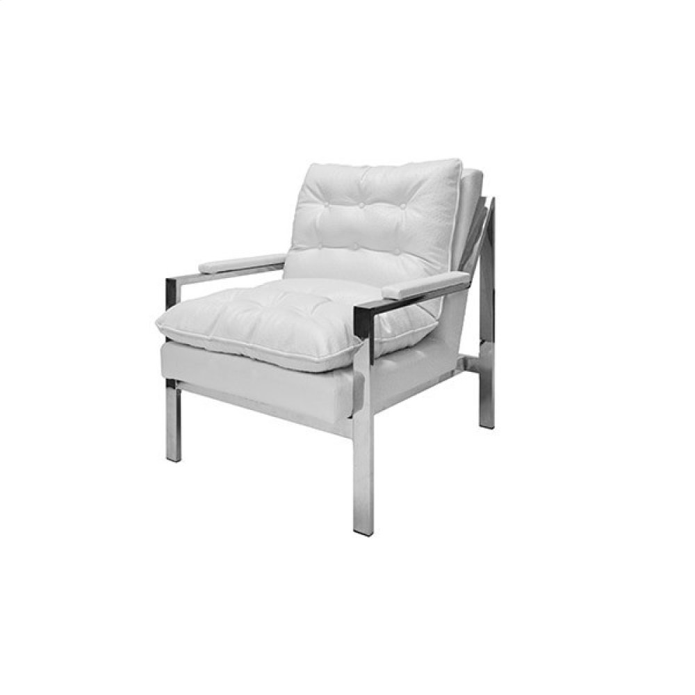 Nickel Armchair In White Ostrich