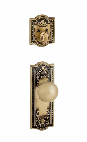 Grandeur - Single Cylinder Combo Pack Keyed Differently - Parthenon Plate with Fifth Avenue Knob and Matching Deadbolt in Vintage Brass Product Image