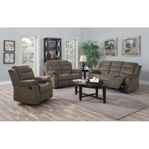 Candice Taupe Fabric Reclining Sofa