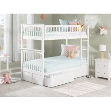 Columbia Bunk Bed Twin over Twin with Urban Bed Drawers in White