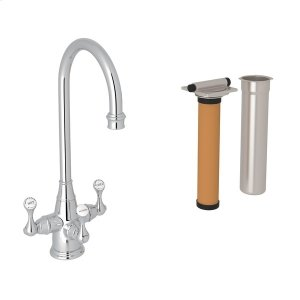 Polished Chrome Perrin & Rowe Georgian Era Filtration 3-Lever Bar/Food Prep Faucet with Etruscan Metal Lever Product Image