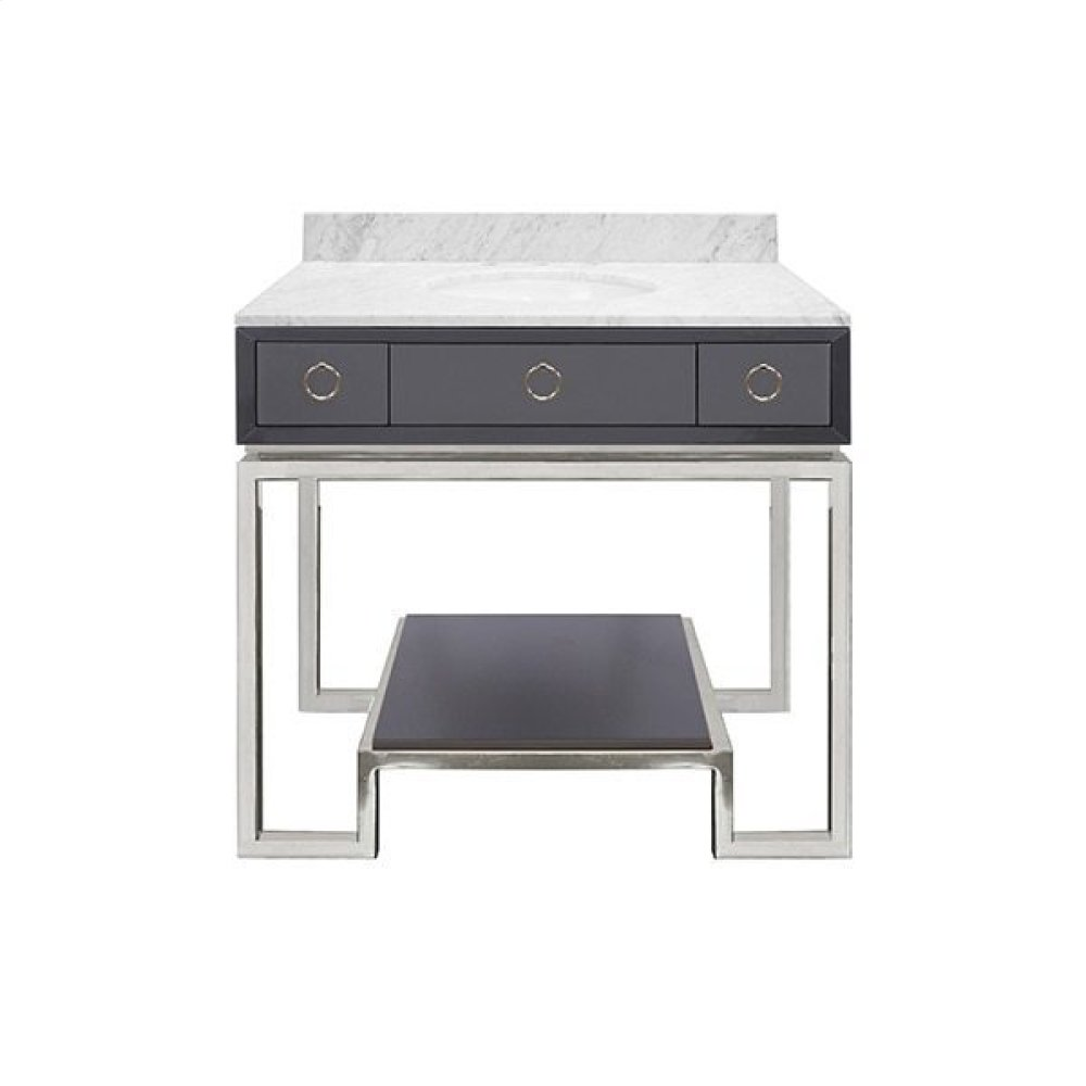 Dark Grey Lacquer Bath Vanity Paired With Nickel Base & Hardware