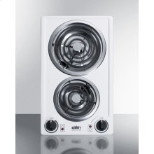 115v 2-burner Coil Cooktop In White Porcelain With Cord Included; Made In the USA