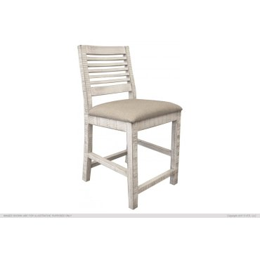 "24"" Barstool w/ Ivory finish & Fabric Seat"