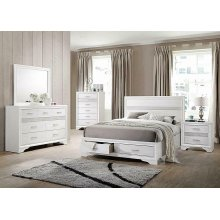 Miranda Contemporary White Queen Storage Bed