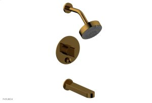 ROND Pressure Balance Tub and Shower Set - Blade Handle 183-26 - French Brass Product Image