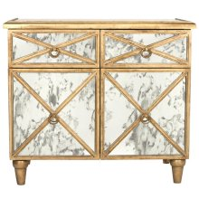 Gold Leaf Antique Mirror Crosshatch Chest. Drawers Are On Glides. Back Painted Gold.