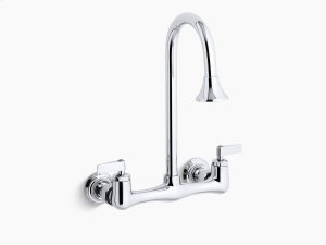Polished Chrome Double Lever Handle Utility Sink Faucet With Rosespray Gooseneck Spout Product Image