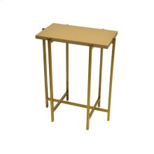 Antique Brass Side Table With Beige Faux Shagreen Rectangle Top