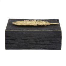 Rustic Faux Wood Box with Gold Feather Accent