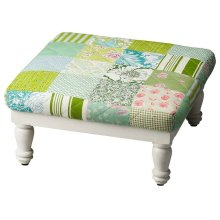 Reminiscent of the quilts your Grandmother used to make, the patchwork design of our low stool, is sure to add a fun flair to any room or decor. It is upholstered in a uniquely patterned cotton calico that surrounds the foam cushion and stands on sturdy m