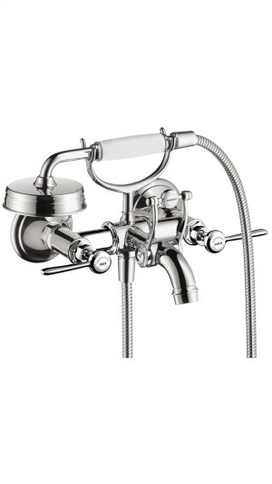 Chrome 2-handle bath mixer for exposed installation wall-mounted with lever handles 1.8 GPM Product Image