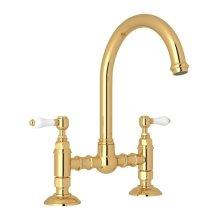 Italian Brass Italian Kitchen San Julio Deck Mount C-Spout Bridge Kitchen Faucet with Porcelain Lever