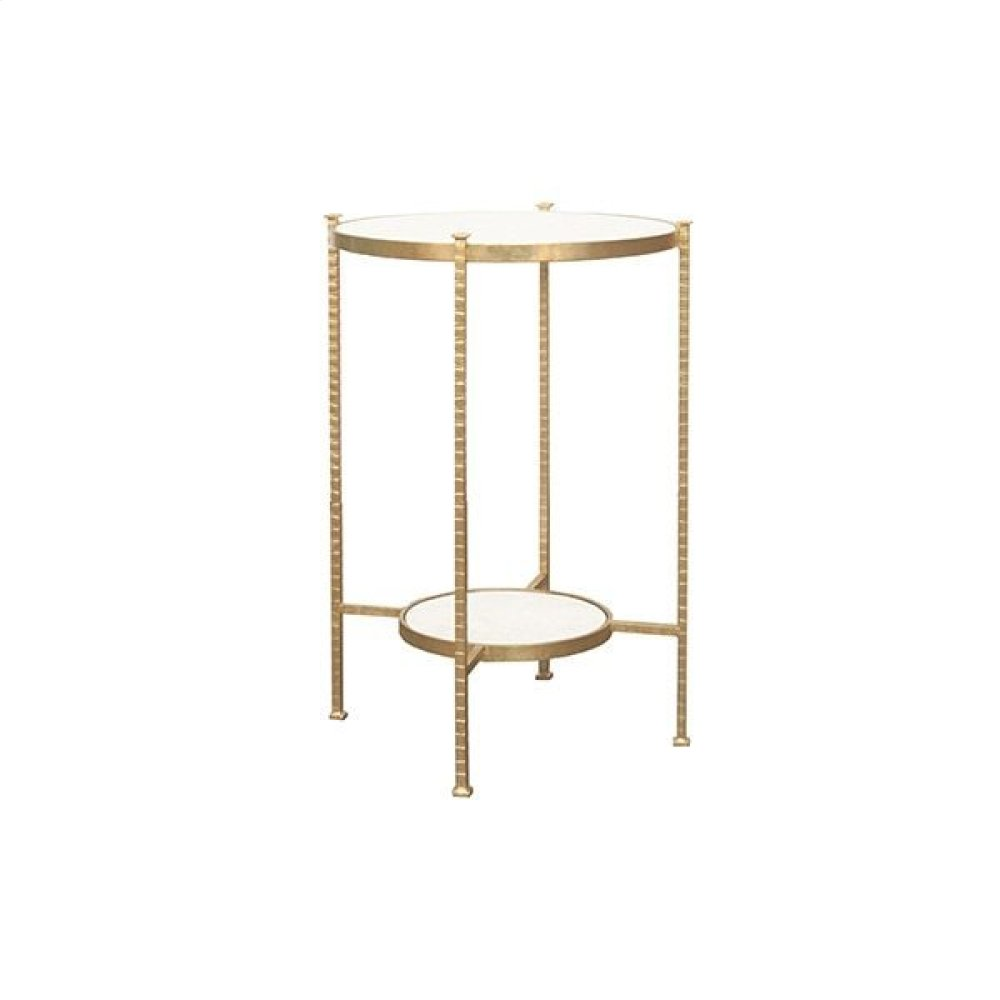 Round Two Tier Hammered Iron Table With White Carrara Marble Top In Gold Leaf