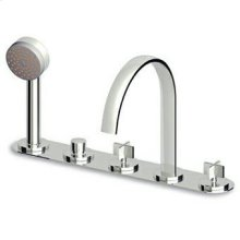 5 hole bath-mixer with fixed spout, pull out shower Z94171, 1500 mm flexible hose.