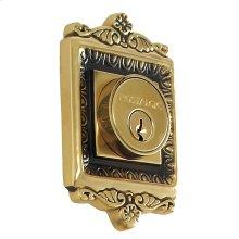 Nostalgic - Double Cylinder Deadbolt Keyed Alike - Egg and Dart in Antique Brass