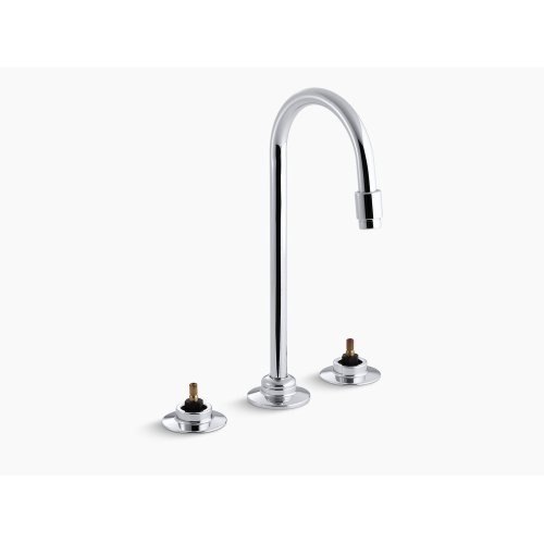 Polished Chrome Widespread Commercial Bathroom Sink Faucet With Flexible Connections and Gooseneck Spout, Requires Handles