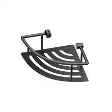 Elegant Corner Shelf with Rails in Matte Black