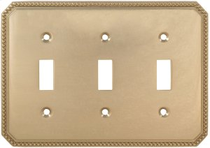 Triple Beaded Switchplate in (US3 Polished Brass, Lacquered) Product Image