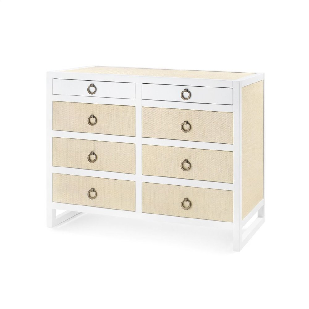 Mallet 8-Drawer, White