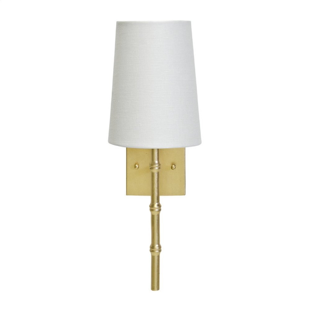 """Gold Leaf Sconce With Bamboo Detail & White Linen Shade -ul Approved for One 40w Candelabra Bulb -back Plate Dimensions: 4.5""""H X 4.5""""W Sconce Shades Also Available for Purchase: Navy: Ls-scnvy Pink: Ls-scpi Black: Ls-scbl"""