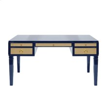 Navy Matte Lacquer Desk With Grasscloth Drawer With Brass Hardware