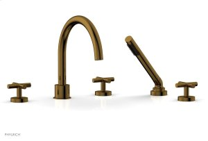 TRANSITION 1 Deck Tub Set with Hand Shower - Cross Handles 120-48 - French Brass Product Image