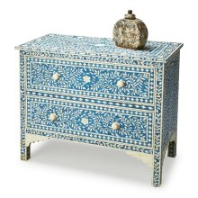 This dazzling two-drawer chest speaks of centuries-old tradition and craftsmanship. Painstakingly handcrafted with beautiful bone inlay veneers on native wood solids and wood products, it features hand cut and formed vine patterned elegance, with compleme