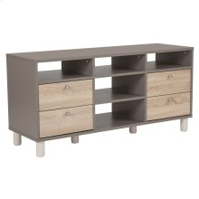 TV Stand in Gray Finish with Sonoma Oak Wood Grain Drawers