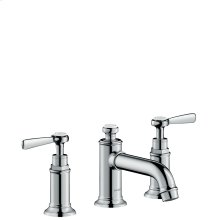 Chrome 3-hole basin mixer 30 with lever handles and pop-up waste set