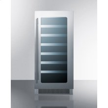 "15"" Wide Built-in Wine Cellar With Seamless Stainless Steel Trimmed Low-e Glass Door and Stainless Steel Wrapped Cabinet"