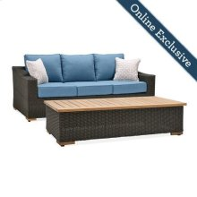 New Boston 2 Piece Wicker Patio Conversation Set