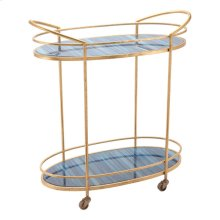 Zaphire Bar Cart Blue & Antique Gold