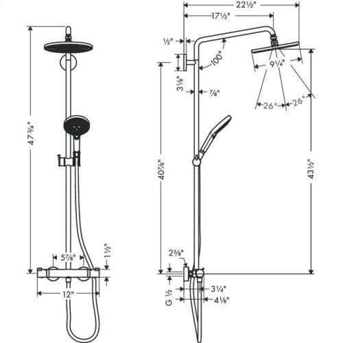 Chrome Showerpipe 240 1-Jet, 2.5 GPM