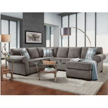 3050 Charisma COMPLETE SECTIONAL in Smoke (LAF SOFA, FLOATING OTTOMAN, RAF CHAISE)