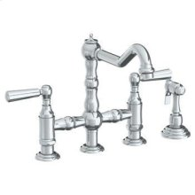 Deck Mounted Bridge Kitchen Faucet With Side Spray