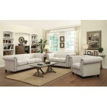 Roy Traditional White Three-piece Living Room Set