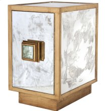 Antique Mirror and Gold Leaf One Door Side Table Cabinet With Single Interior Shelf.