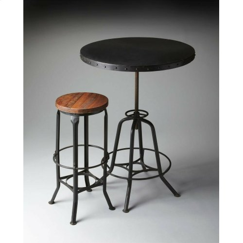 This industrial-look hall table rotates and adjusts to the desired height. Its all-iron construction with a distressed black finish is a distinctive touch in a variety of spaces, and its height-adjustable base provides ultimate function making it equally