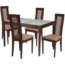 5 Piece Walnut Wood Dining Table Set with Glass Top and Framed Rail Back Design Wood Dining Chairs - Padded Seats