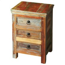 Crafted from recycled wood solids in a multi-colored hand-painted finish ensuring bonafide originality, this Accent Chest offers the faded colors of an heirloom as well as an alluring rustic charm.
