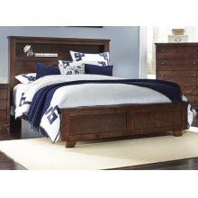 6/6 King Bookcase Bed - Espresso Pine Finish