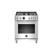 30 inch Dual Fuel Range, 4 Brass Burner, Electric Self-Clean Oven Stainless Steel